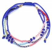 A-B20.1 B2039-004C Layered Bracelet with Beads Blue