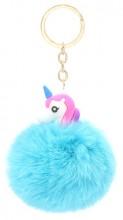 S-C1.1 KY2035-034J Fluffy Keychain Unicorn 8x3cm Blue