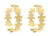 A-A24.2 E2126-005 Stainless Steel Earrings 2.5cm Flowers Gold