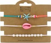 E-A7.3 B2001-054A Bracelet Set 3pcs Starfish-Pearls-Shell Pink