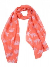 S-G2.1 S313-007 Scarf with Big Cats 70x180cm Orange