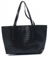 Z-C1.5 BAG417-004C PU Shopper Croco 44x30x10cm Black