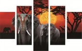 Q-O7.1  FF050 Diamond Painting Set Elephants 5 Frames