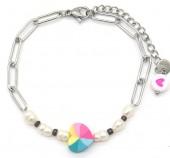 G-F17.1 B2126-022S S. Steel Bracelet Heart and Pearls Silver