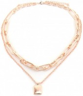 B-F20.3 N2019-014RG Layered Chain Necklace Rose Gold