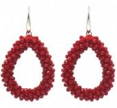 B-F3.1 E007-001 Facet Glass Beads 4.5x3.5cm Red