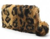 H-D7.1 WA117-005 Soft Fake Fur Wallet with Pompon 19x10cm Leopard Print Brown
