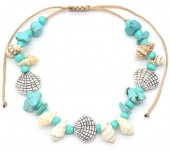 G-E3.2 B536-087A Bracelet Shells and Stones Blue