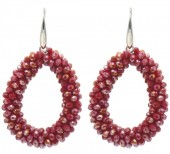 F-B4.2 E007-001N Facet Glass Beads 4.5x3.5cm Red-Multi