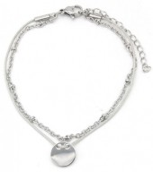 B-C19.1  B003-011 Stainless Steel with Cord Bracelet and 10mm Coin Grey-Silver