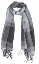 T-L6.1 SCARF406-001B Checkered Scarf with Fringes 170x31cm Grey