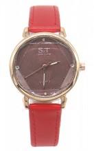 C-D20.4 W523-028 PU Quartz Watch 34mm Red