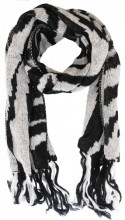 Y-C5.5 Scarf with Zebra Print and Fringes 55x190cm Black-White