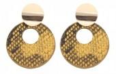 D-D3.2 E220-009 Earrings with Snakeskin 5.5x4cm Orange
