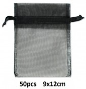 B-F23.1 Organza Gift Bag 9x12cm Black 50pcs