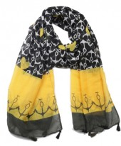 X-A4.2 SCARF509-001A Scarf with Tassels Anchors and Hearts 180x80cm Black-Yellow