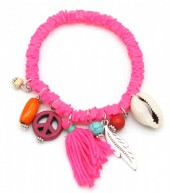 D-C21.2  B302-006 Elastic Surf Bracelet with Beads and Tassel Pink