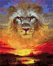 Y-F1.1 MS7651 Paint By Number Set Lion-Sunset50x40cm