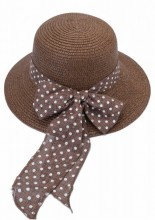 HAT210-003 Hat with Bow with Polka Dots Brown