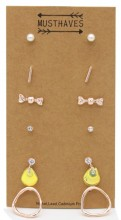 F-A2.2  E426-020 Earring Set 6 pairs Rose Gold