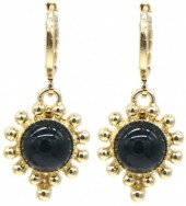 G-E5.2 E532-004G Earrings Dots Black-Gold