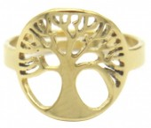 E-D8.2 R519-005G S. Steel Ring Adjustable Tree of Life Gold