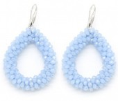 C-C14.2 E007-001 Facet Glass Beads 4.5x3.5cm Blue