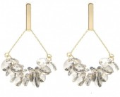 C-B9.3  E2019-009G Earring with Faceted Glass Beads 5cm Gold