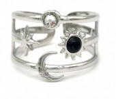 G-F18.5 R110248S S. Steel Ring Star and Moon Adjustable Silver
