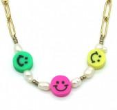 H-F20.2  N2126-025G S. Steel Necklace Smileys Gold