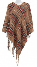 Y-D3.5 SCARF008-022 Checked Poncho Brown