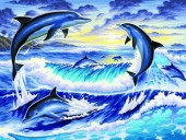Q-P8.1 S180 Diamond Painting Set Dolphins 50x40cm