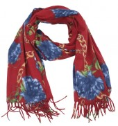 K-F3.2 SCARF405-040A Soft Scarf Chains and Flowers 180x70cm Red