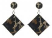 B-F22.3 E1631-031B Earrings Animal Print 5x3.5cm Silver