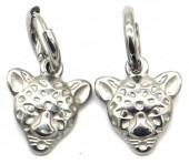 A-B6.4  E2011-009 S. Steel 10mm Earring with 15mm Tiger Silver