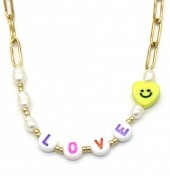 H-D6.1  N2126-023G S. Steel Necklace LOVE Gold