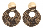 D-A3.1 E220-009 Earrings with Snakeskin 5.5x4cm Brown