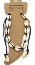 J-B7.1 ANK2001-001A Anklet with Shells Black