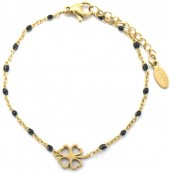E-A4.2 B301-028 S. Steel Bracelet with Black Dots and 10mm Clover Gold