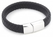 F-B16.3 B105-003 Leather Bracelet with Stainless Steel Lock 21cm Black