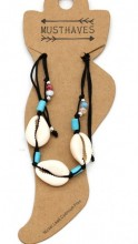 E-E8.1 ANK221-014 Anklet with Shells Black