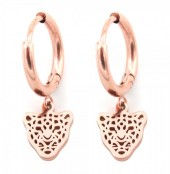 B-C7.1 E1842-010 Stainless Steel Earrings Leopard Rose Gold 10mm 10mm Charm