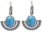 B-E4.4 E2004-007 S. Steel Earrings 15mm Aztek Charm and Stone Silver