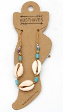 E-B8.2  ANK221-014 Anklet with Shells Brown