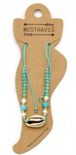 D-A17.4  ANK221-011 Anklet with Beads and Gold Metal Shell Blue