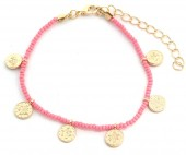 J-D3.2 B2039-018G Bracelet with Glass Beads and Coins Pink