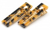 E-D9.1 H413-003 Hair Clip Set 2pcs Marble Brown