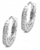 B-A17.3 E1929-002S Earrings with Cubic Zirconia 15mm Silver