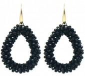 B-A8.1 E007-001 Facet Glass Beads 4.5x3.5cm Gold-Black
