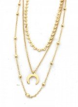 E-F18.1  N224-006 Necklace 3 layers Coins and Moon Gold